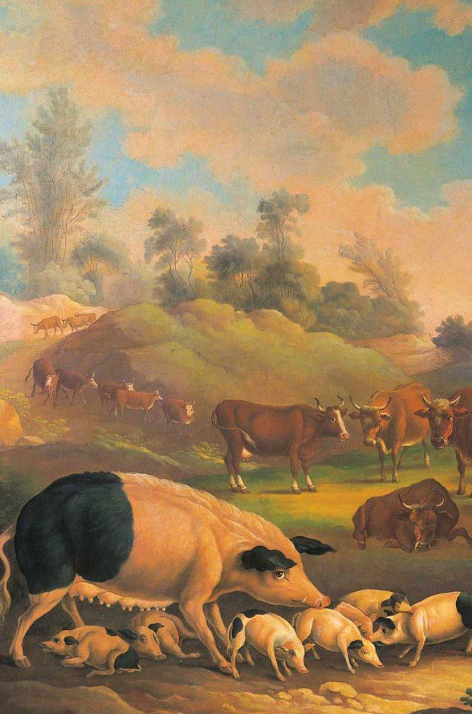Öl auf Leinwand: hällische Sau mit Ferkeln im Vordergrund Rinder im Hintergrund auf der Weide