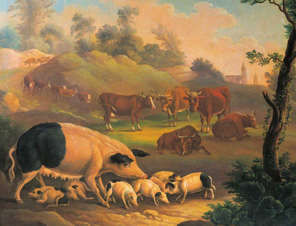 historisches Landschaftsbild auf hügeliger Weide im Vordergund Baum, Sau mit Ferkeln, weiss mit schwarzen Ohren und Hintern, Hintergrund: eine Herde brauner Rinder mit Blesse