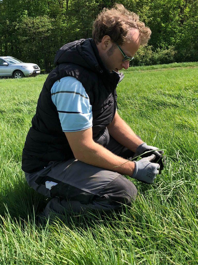 Markus Ehrmann begutachtet die Vegetation auf seinem Feld