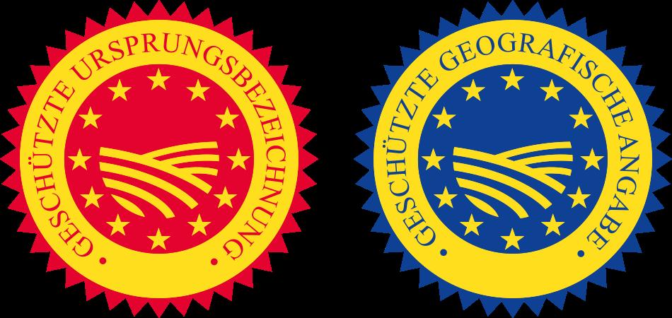 """EU-Siegel """"geschützte Ursprungsbezeichnung"""" (links) und """"geschützte geografische Angabe""""."""