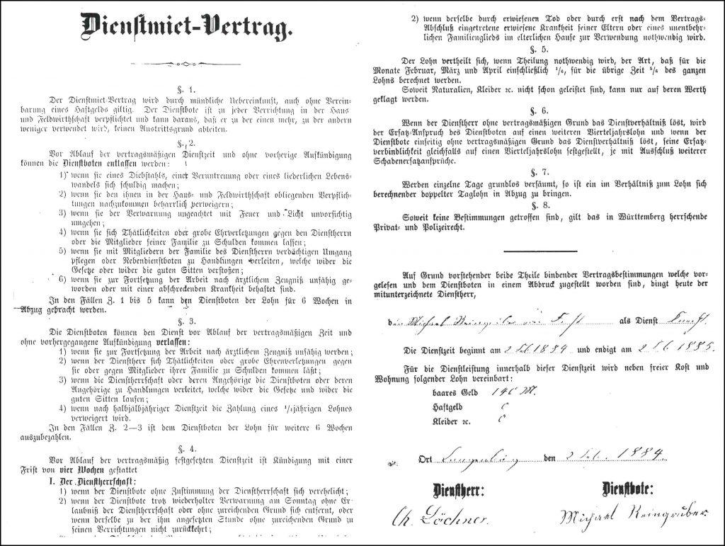 Dienstmiet-Vertrag des Knechts Michael Reingruber aus Forst, Oberamt Gerabronn, mit dem Langenburger Christian Löchner, datiert auf 2. Februar 1884.